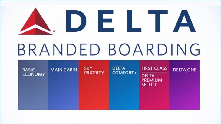 Delta Simplifies Boarding Using Branded Fares and Color